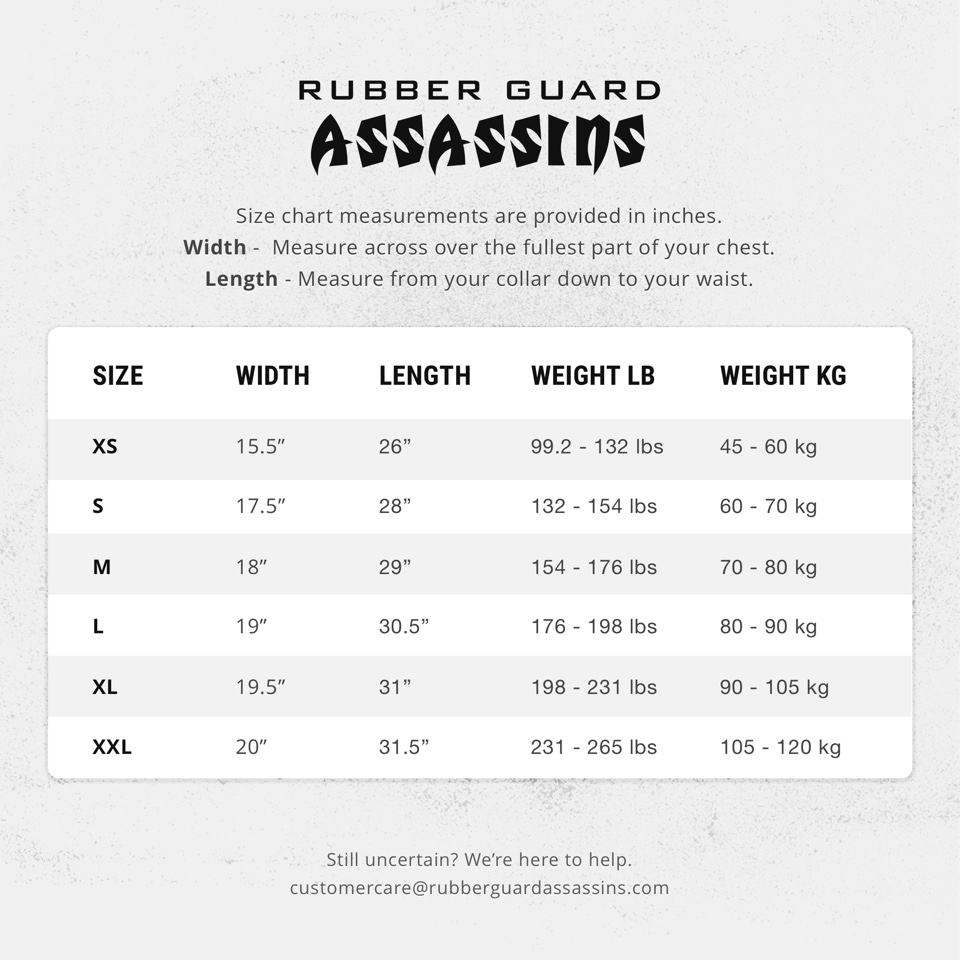 Size Chart for Rubber Guard Assassins products